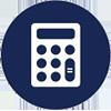 calculator blue white 100